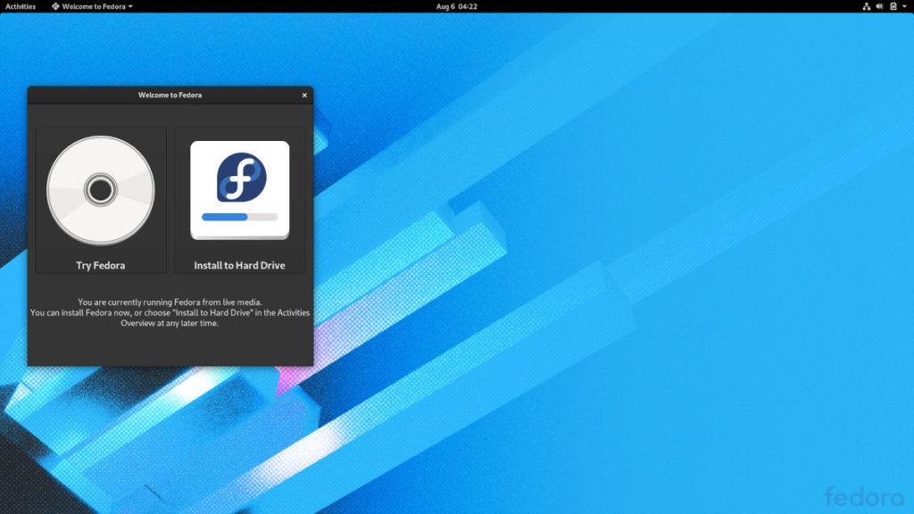 Fedora 32 初期画面