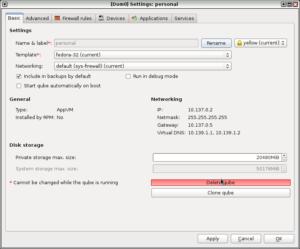 Qubes OS Qube setting 1
