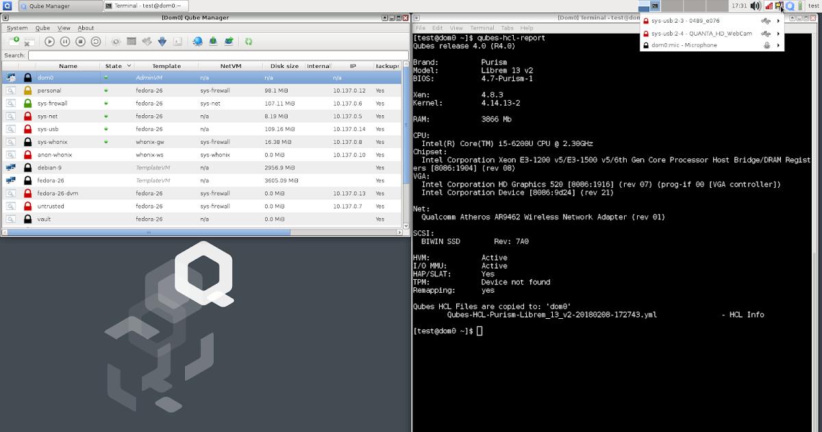 QUBES OS デスクトップ