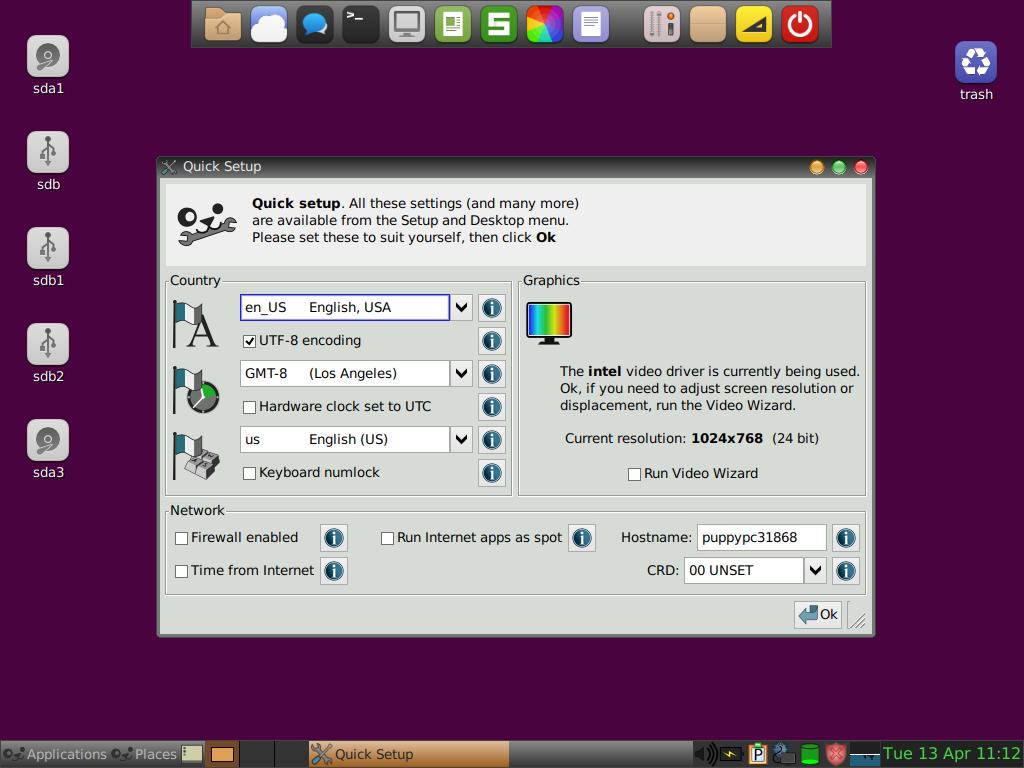 Puppy Linux quick setup