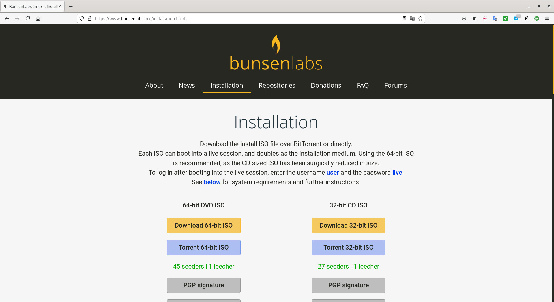 BunsenLabs Linuxサイト